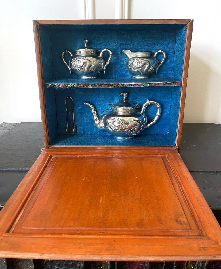 Chinese Export Silver Tea Set with Original Box Zee Wo For Sale 9