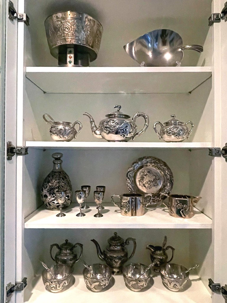 Chinese Export Silver Tea Set with Original Box Zee Wo For Sale 11