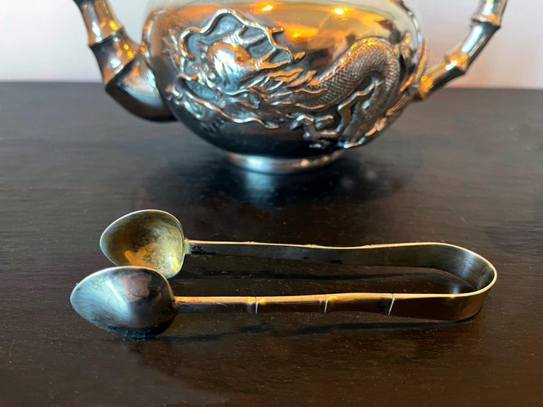 Chinese Export Silver Tea Set with Original Box Zee Wo For Sale 2