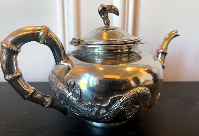 Chinese Export Silver Tea Set with Original Box Zee Wo For Sale 3