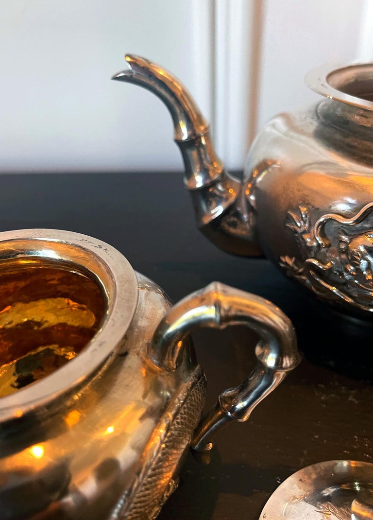 Chinese Export Silver Tea Set with Original Box Zee Wo For Sale 5