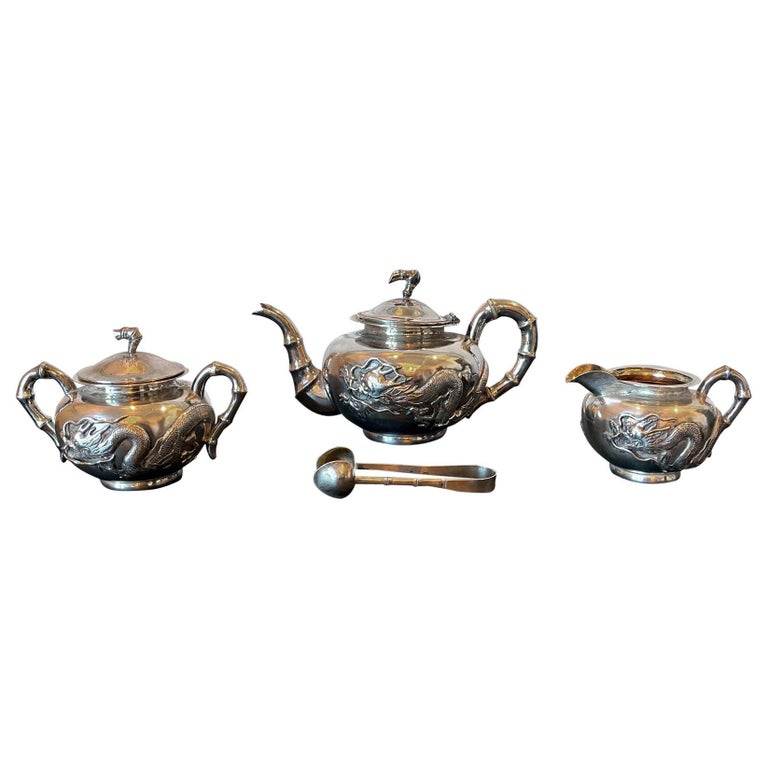 Chinese Export Silver Tea Set with Original Box Zee Wo For Sale