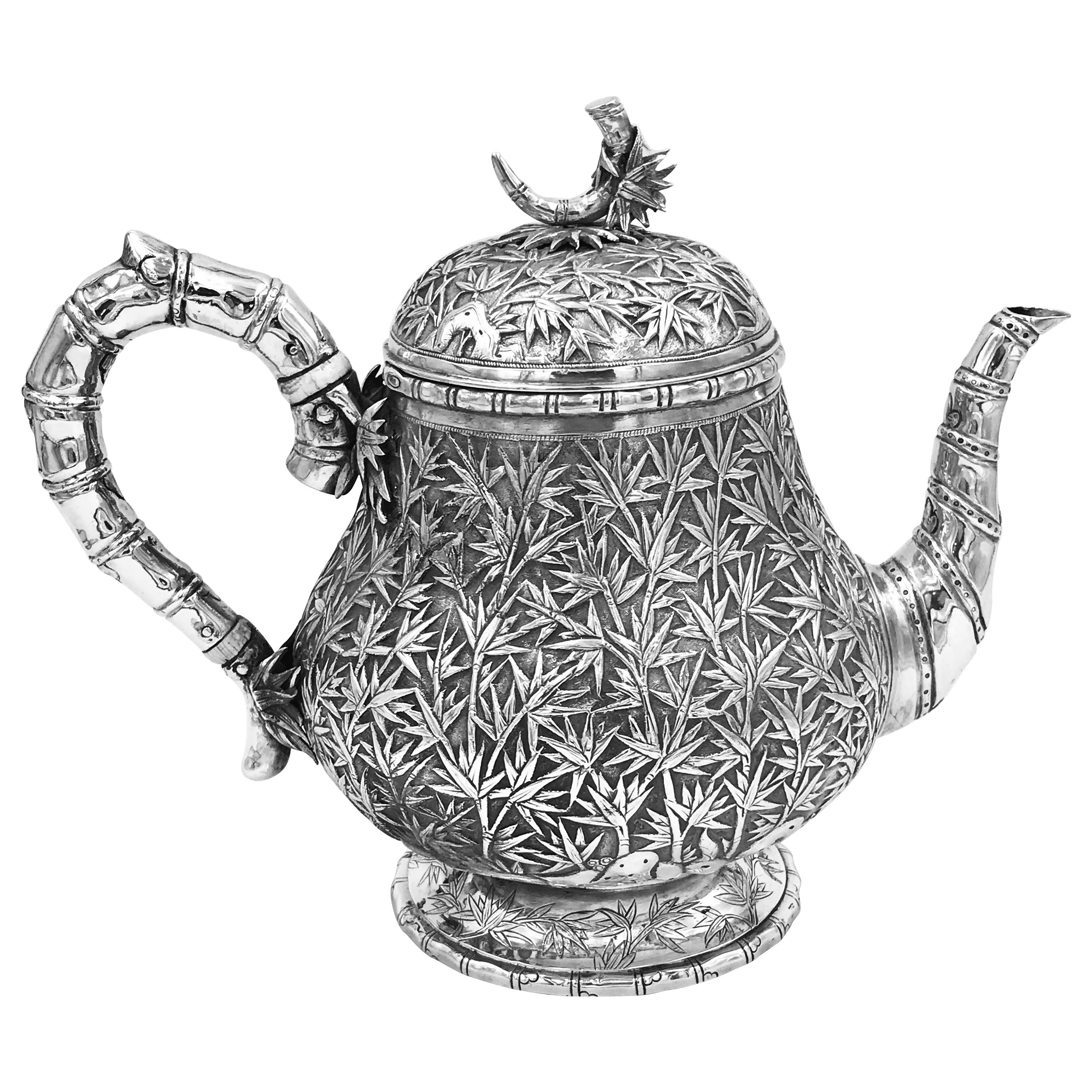 Chinese Export Silver Teapot