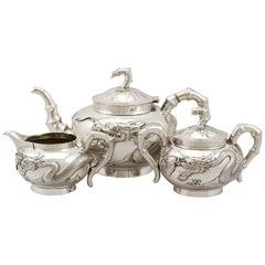 Chinese Export Silver Three-Piece Tea Service, Antique, circa 1870