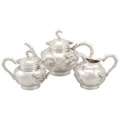Chinese Export Silver Three-Piece Tea Service Antique, circa 1900