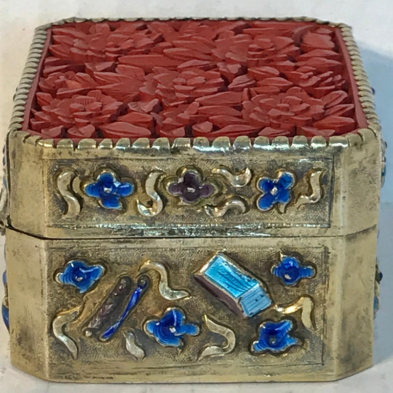 Chinese Export Silver Vermeil Enamel Carved Cinnabar Box For Sale 4