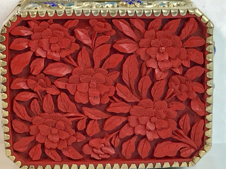 Chinese Export Silver Vermeil Enamel Carved Cinnabar Box For Sale 5