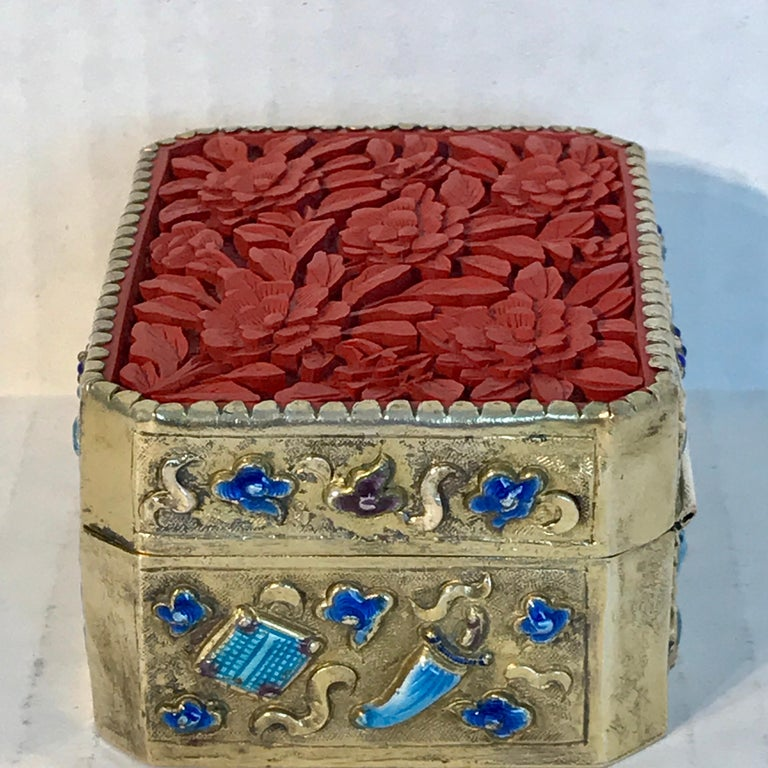 Chinese Export Silver Vermeil Enamel Carved Cinnabar Box For Sale 6
