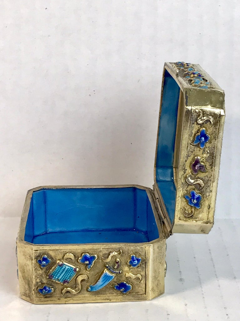 Chinese Export Silver Vermeil Enamel Carved Cinnabar Box For Sale 7