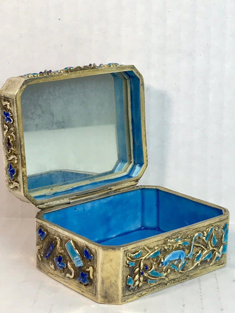 Chinese Export Silver Vermeil Enamel Carved Cinnabar Box For Sale 8