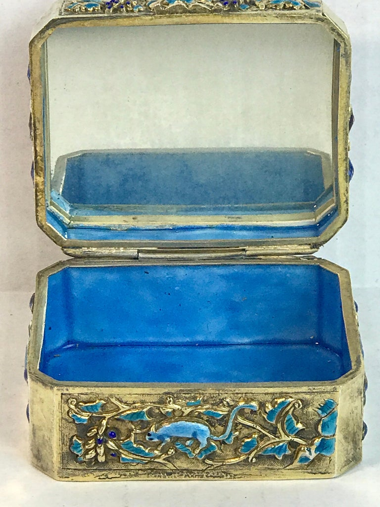 Chinese Export Silver Vermeil Enamel Carved Cinnabar Box For Sale 9