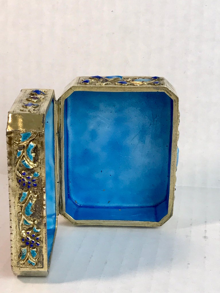 Chinese Export Silver Vermeil Enamel Carved Cinnabar Box For Sale 10
