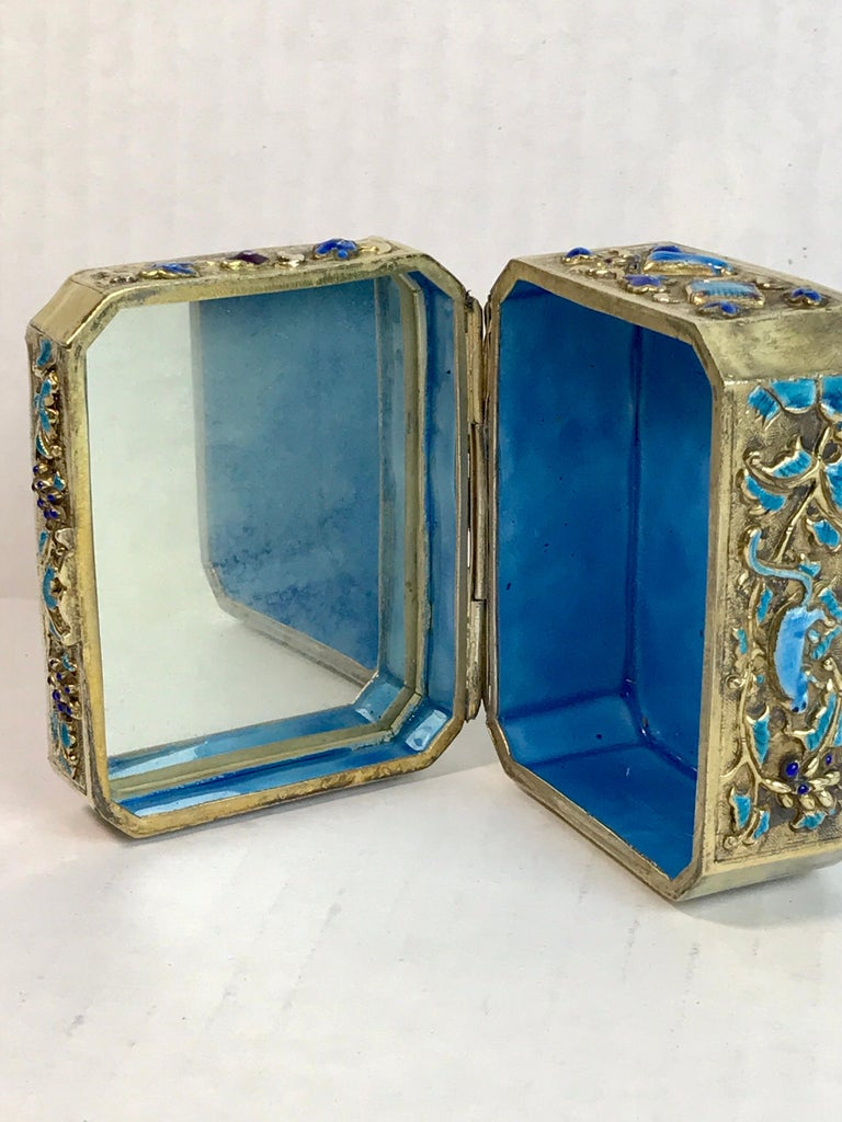 Chinese Export Silver Vermeil Enamel Carved Cinnabar Box For Sale 11