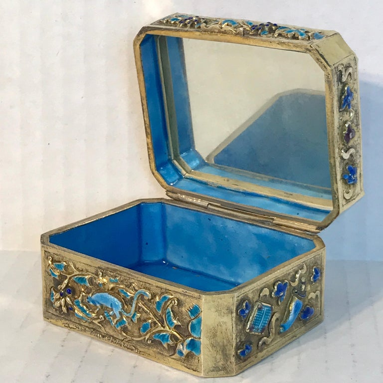 Chinese Export Silver Vermeil Enamel Carved Cinnabar Box For Sale 13