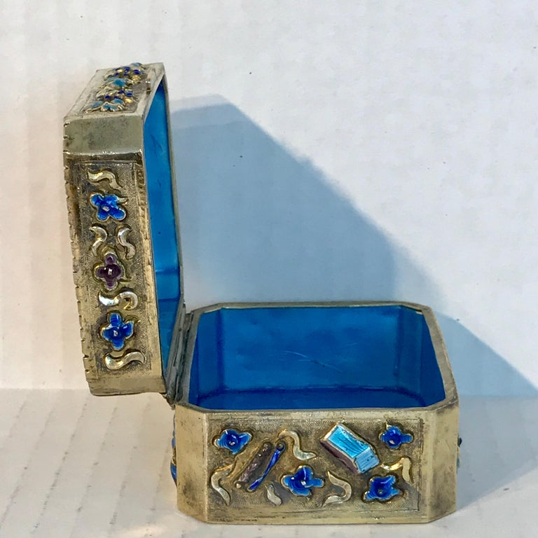 Chinese Export Silver Vermeil Enamel Carved Cinnabar Box For Sale 14
