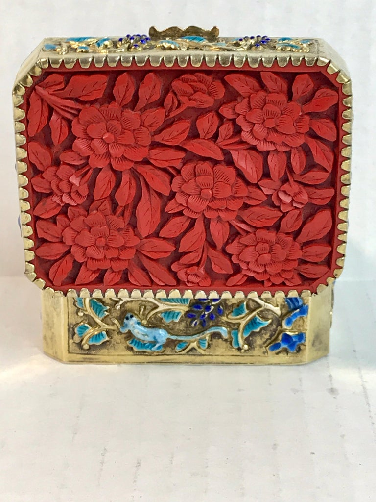 Hand-Carved Chinese Export Silver Vermeil Enamel Carved Cinnabar Box For Sale