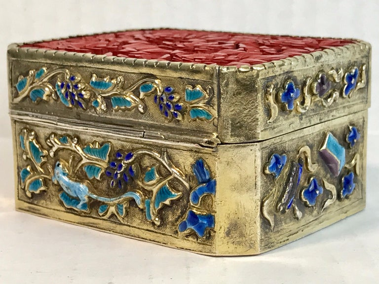 Chinese Export Silver Vermeil Enamel Carved Cinnabar Box In Good Condition For Sale In West Palm Beach, FL