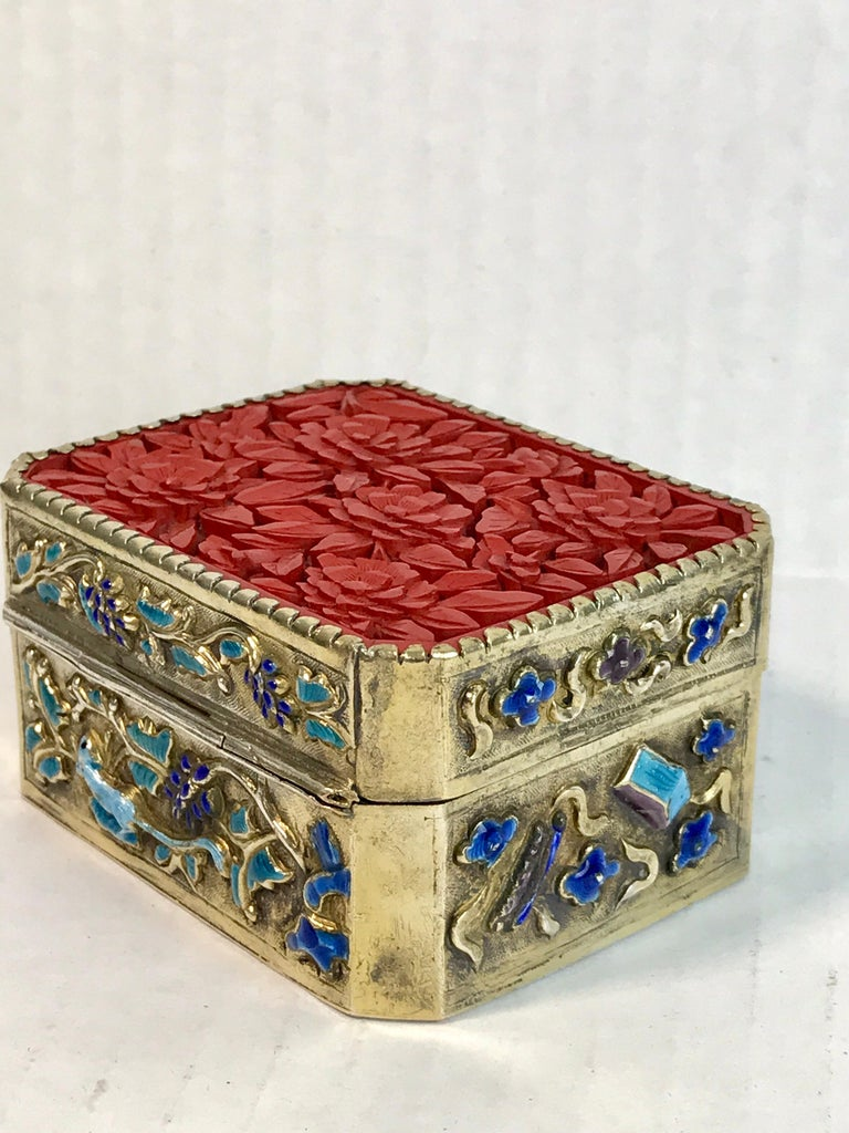 20th Century Chinese Export Silver Vermeil Enamel Carved Cinnabar Box For Sale