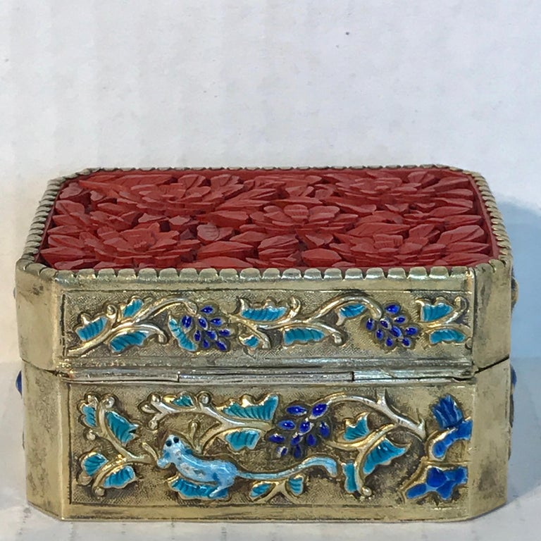 Gold Plate Chinese Export Silver Vermeil Enamel Carved Cinnabar Box For Sale