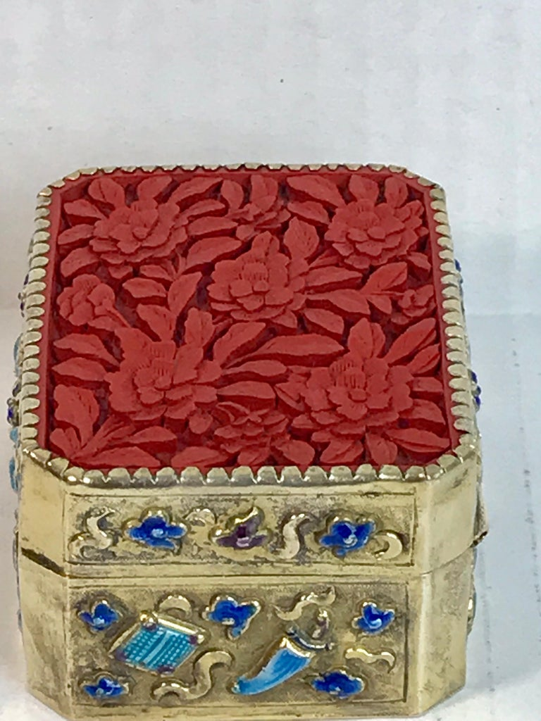 Chinese Export Silver Vermeil Enamel Carved Cinnabar Box For Sale 1