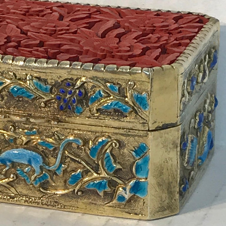 Chinese Export Silver Vermeil Enamel Carved Cinnabar Box For Sale 2