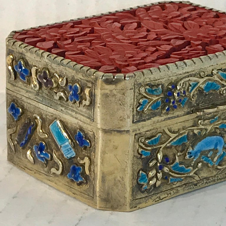 Chinese Export Silver Vermeil Enamel Carved Cinnabar Box For Sale 3