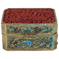 Chinese Export Silver Vermeil Enamel Carved Cinnabar Box