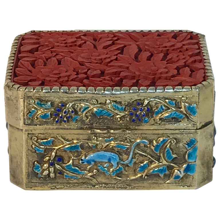 Chinese Export Silver Vermeil Enamel Carved Cinnabar Box For Sale