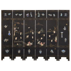 Chinese Export Six Panel Cloisonné Soapstone Coromandel Screen