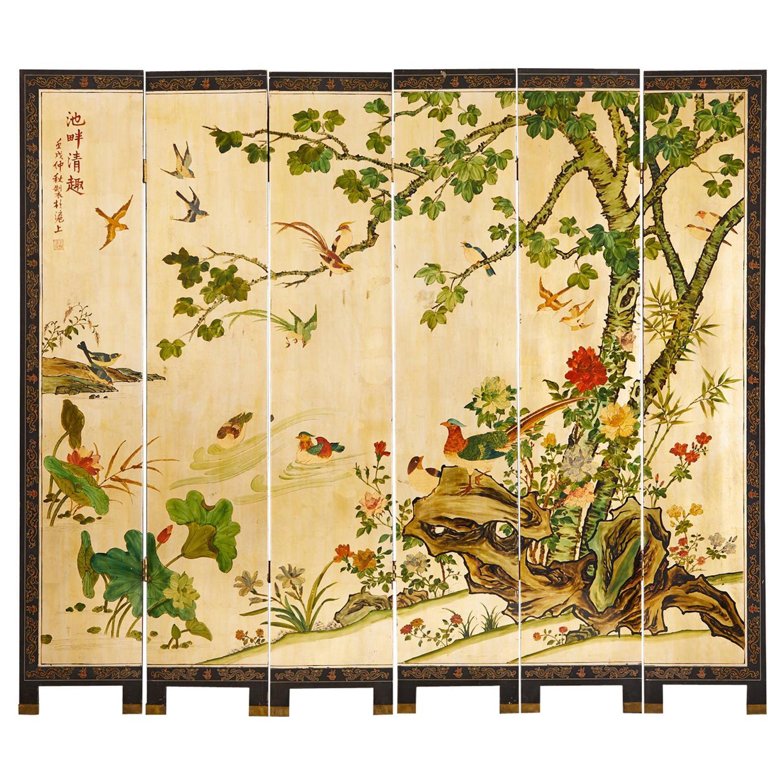 Chinese Export Six Panel Gilt Coromandel Screen Flora Fauna