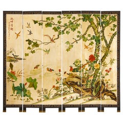 Chinese Export Six Panel Gilt Coromandel Screen Flora Fauna