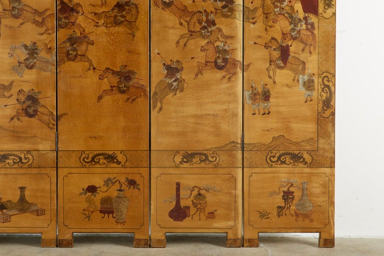 Chinese Export Six-Panel Gilt Lacquered Coromandel Screen For Sale 5