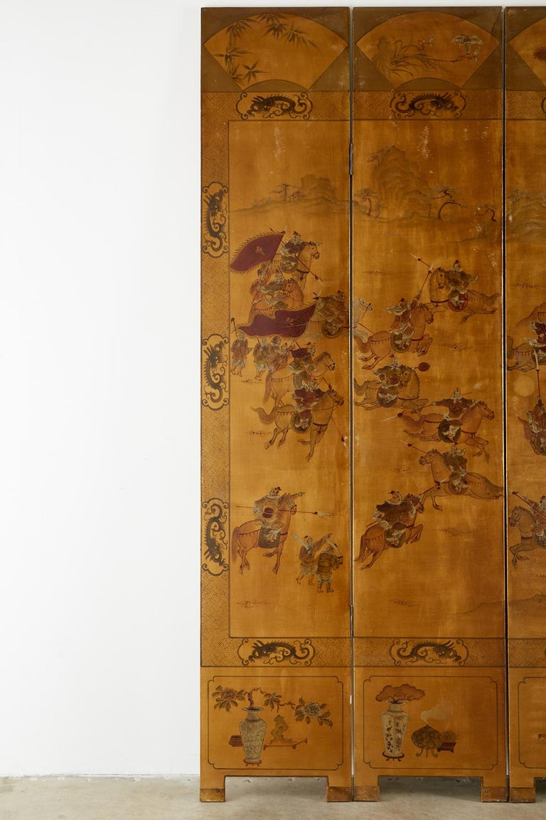 Chinese Export Six-Panel Gilt Lacquered Coromandel Screen For Sale 6