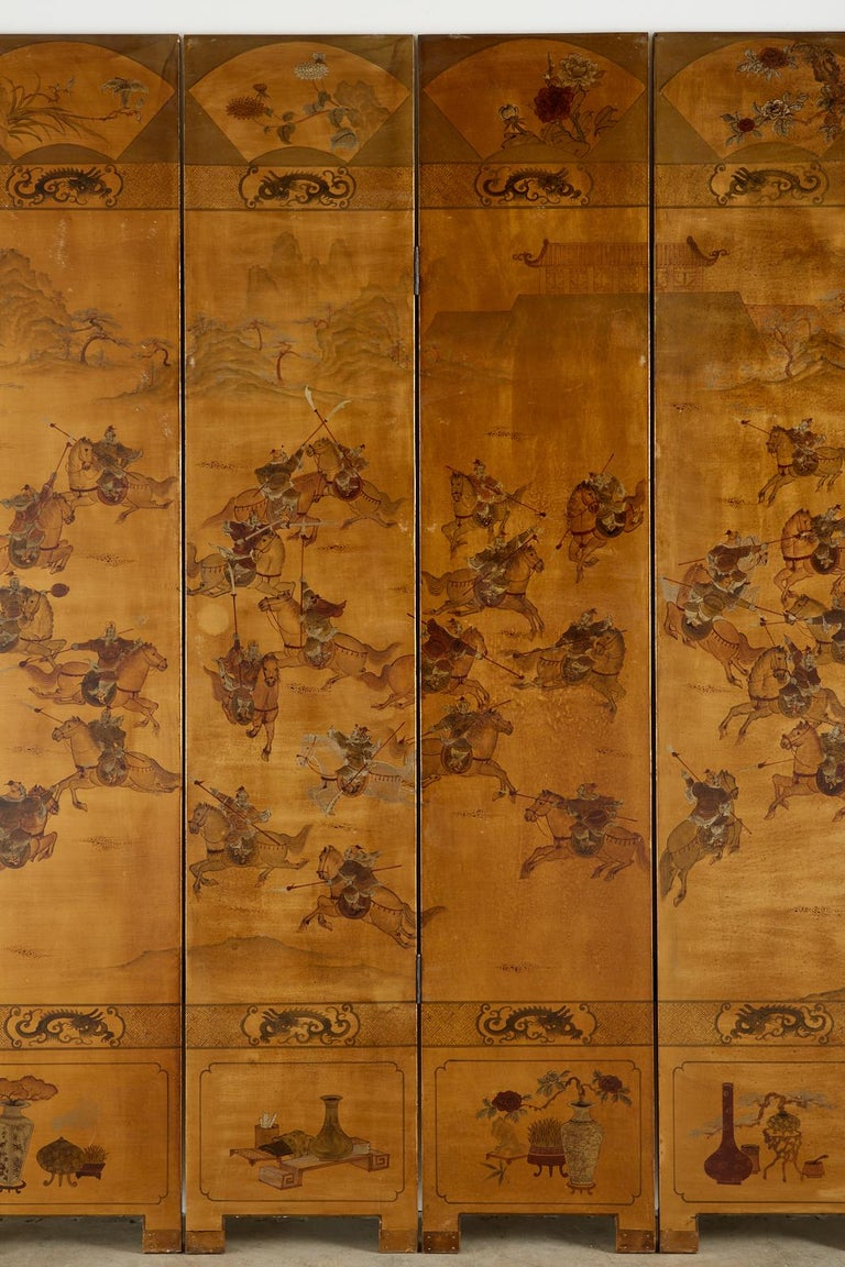 Chinese Export Six-Panel Gilt Lacquered Coromandel Screen For Sale 7