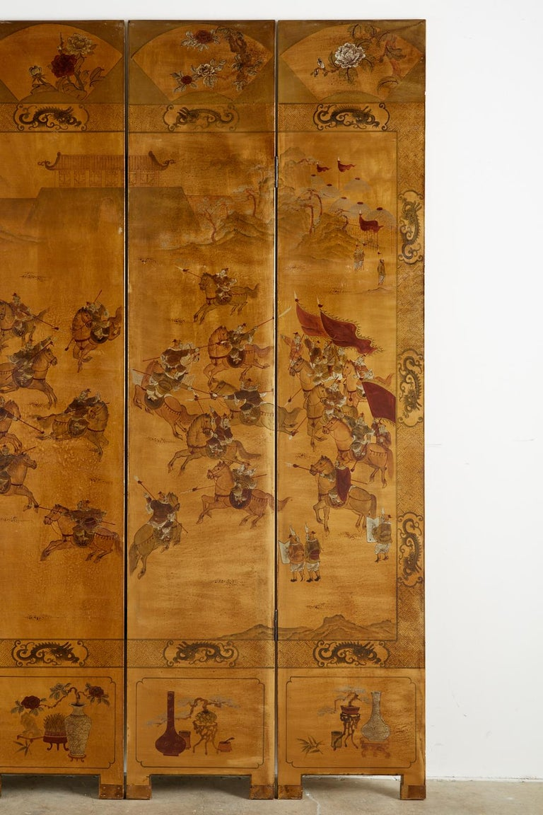 Chinese Export Six-Panel Gilt Lacquered Coromandel Screen For Sale 8