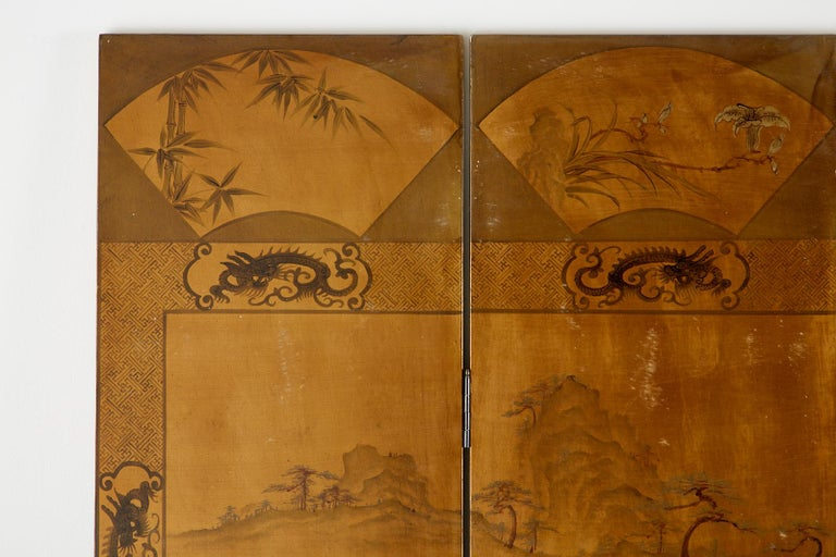Chinese Export Six-Panel Gilt Lacquered Coromandel Screen For Sale 9