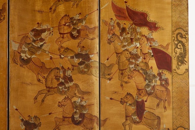 Chinese Export Six-Panel Gilt Lacquered Coromandel Screen For Sale 11