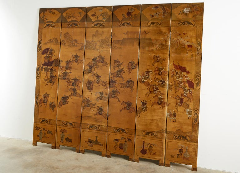 20th Century Chinese Export Six-Panel Gilt Lacquered Coromandel Screen For Sale