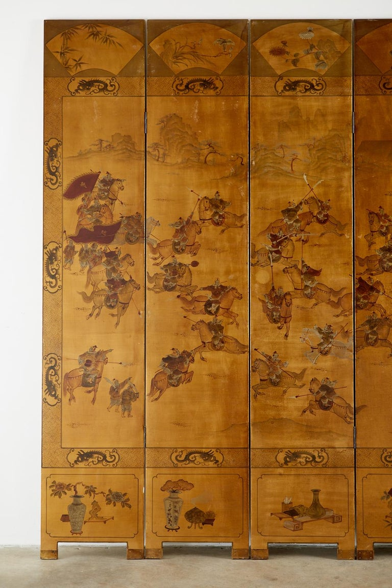 Brass Chinese Export Six-Panel Gilt Lacquered Coromandel Screen For Sale
