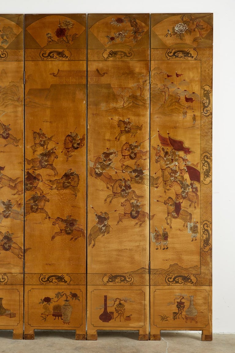 Chinese Export Six-Panel Gilt Lacquered Coromandel Screen For Sale 1