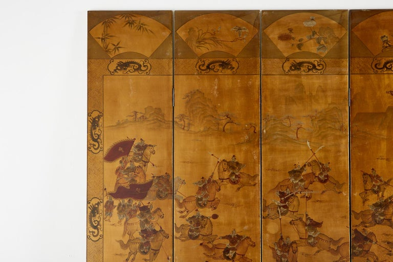 Chinese Export Six-Panel Gilt Lacquered Coromandel Screen For Sale 2