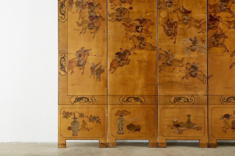 Chinese Export Six-Panel Gilt Lacquered Coromandel Screen For Sale 3