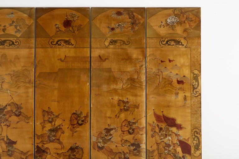 Chinese Export Six-Panel Gilt Lacquered Coromandel Screen For Sale 4