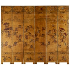 Chinese Export Six-Panel Gilt Lacquered Coromandel Screen