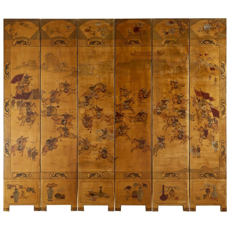 Chinese Export Six-Panel Gilt Lacquered Coromandel Screen For Sale