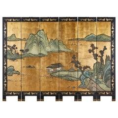 Chinese Export Six-Panel Gold Leaf Coromandel Screen