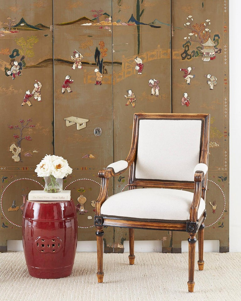 Chinese Export Six-Panel Hardstone Lacquered Fertility Screen For Sale 4