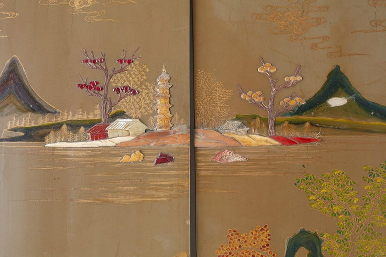 Chinese Export Six-Panel Hardstone Lacquered Fertility Screen For Sale 5