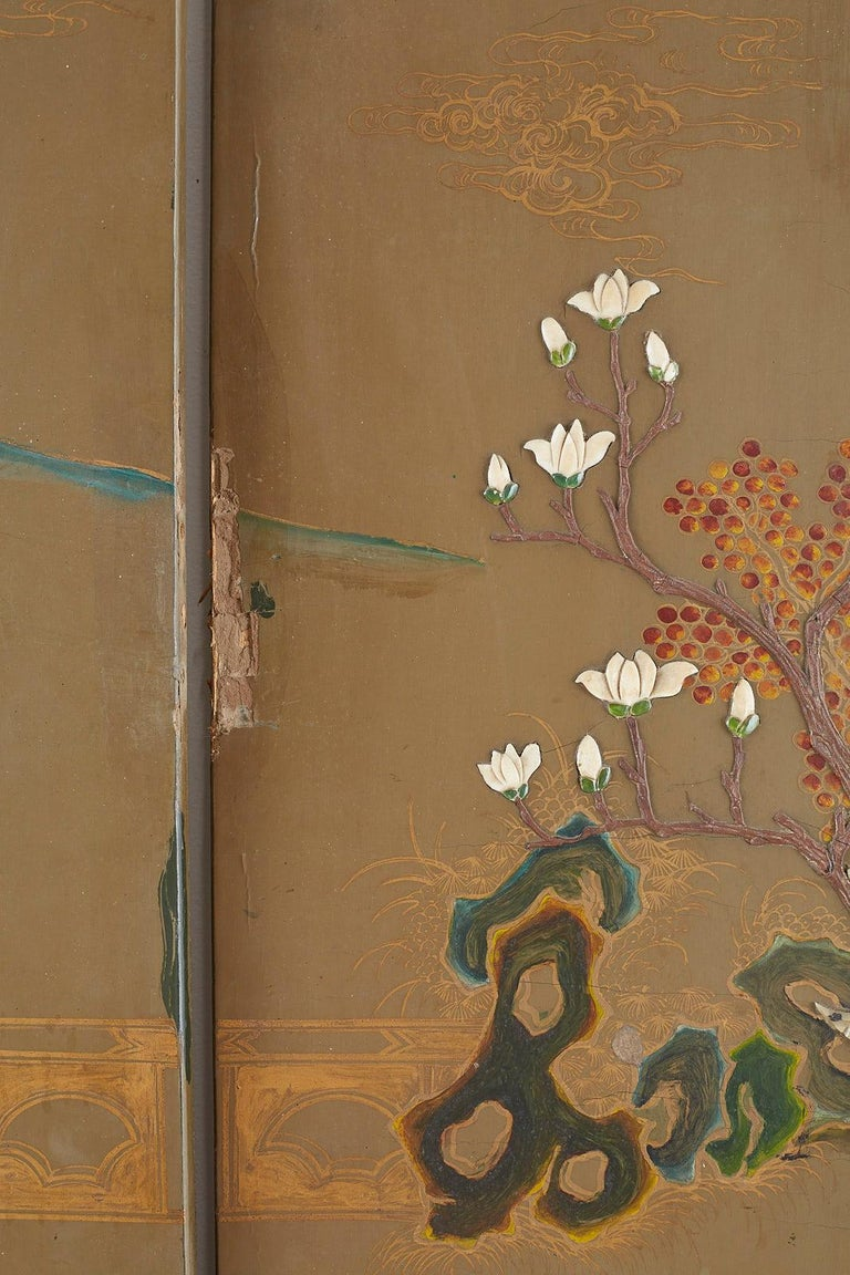 Chinese Export Six-Panel Hardstone Lacquered Fertility Screen For Sale 11