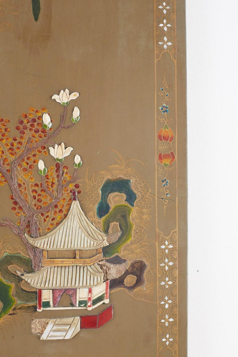 Chinese Export Six-Panel Hardstone Lacquered Fertility Screen For Sale 12